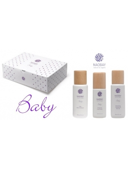 CAJA REGALO BABY PACK 1 NAOBAY (GEL BAÑO 200ML + EMULSION CORPORAL 200ML + CREMA FACIAL 100 ML)