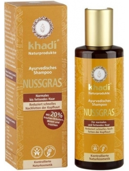 CHAMPU AYURVEDICO NUTGRASS REGULADOR CABELLO NORMAL Y GRASO DE KHADI