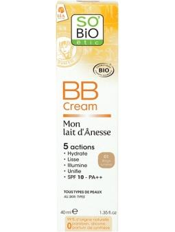 BB CREAM 01 BEIGE LUMIERE SPF10 BIO MON LAIT D'ÂNESSE DE SO'BIO ETIC