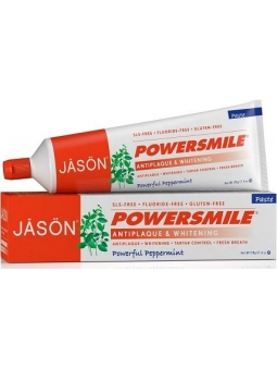 DENTIFRICO SIN FLUOR ANTIPLACA Y BLANQUEADOR MENTA POWER SMILE JASON