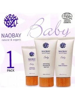 CAJA REGALO BABY PACK DE NAOBAY (CREMA FACIAL 30ML + GEL BAÑO Y CHAMPÚ 100ML + EMULSIÓN CORPORAL 100ML).
