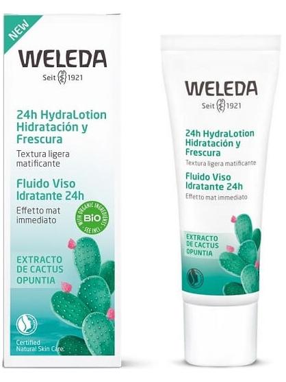 FLUIDO FACIAL MATIFICANTE HIDRATACION 24H HYDRALOTION CACTUS DE WELEDA